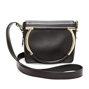 Micole Black Leather Gold Hardware Bag